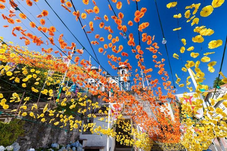 Geschmückte Straßen zum Blumenfest in Funchal